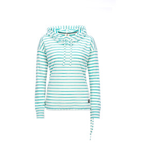super.natural Funnel Hoodie Printed Dames, fresh white/fine stripe print
